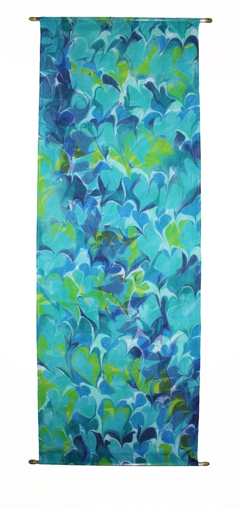 green, teal, indigo, botanical silk wall hanging