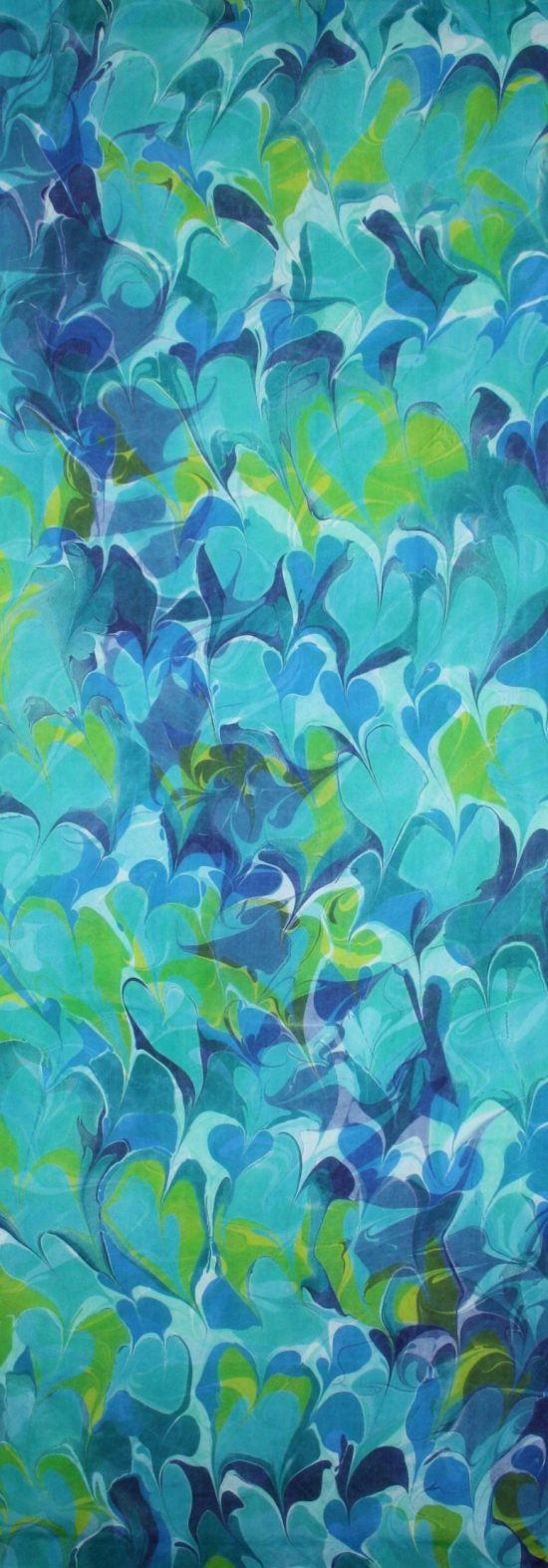 green, teal, indigo, botanical silk wall hanging