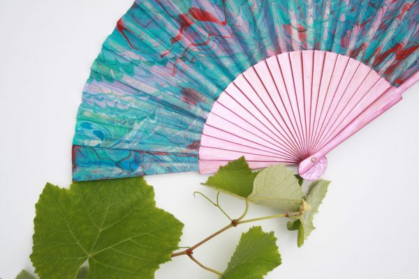 Pink, teal, white, indigo, red, silk fan