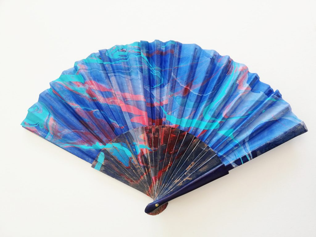 indigo, red, teal silk fan