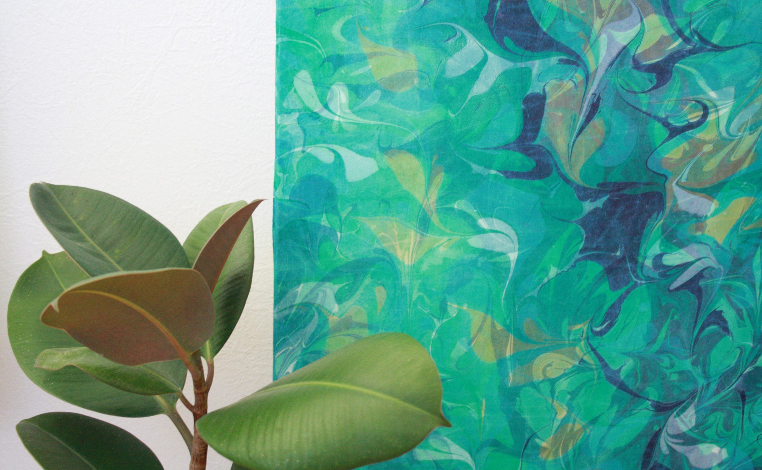 Detail of Indigo, Sap Green, Light Blue, blue green Botanical Silk wall hanging