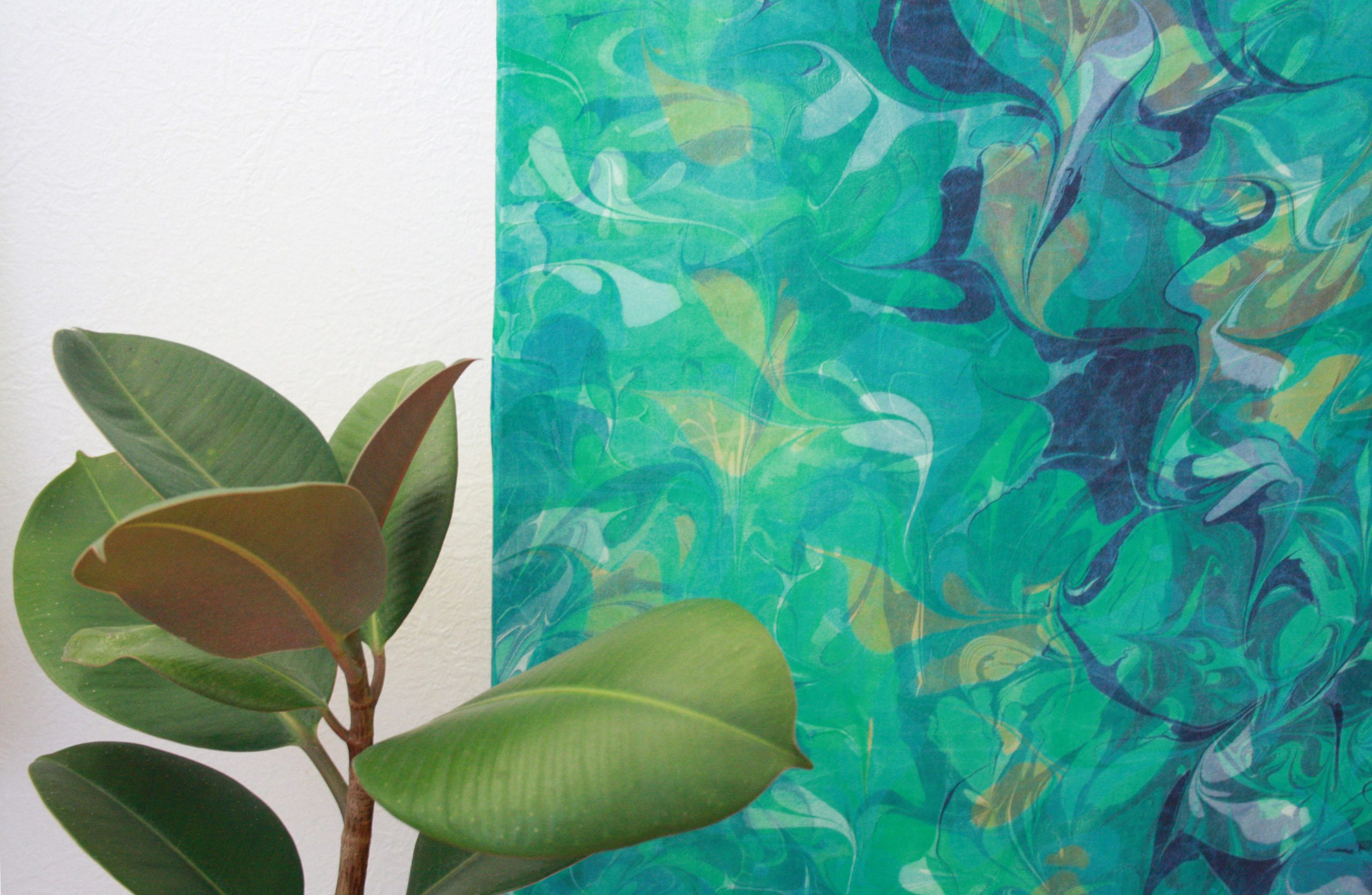 Detail of Indigo, Sap Green, Light Blue, blue green Botanical Silk wall hanging