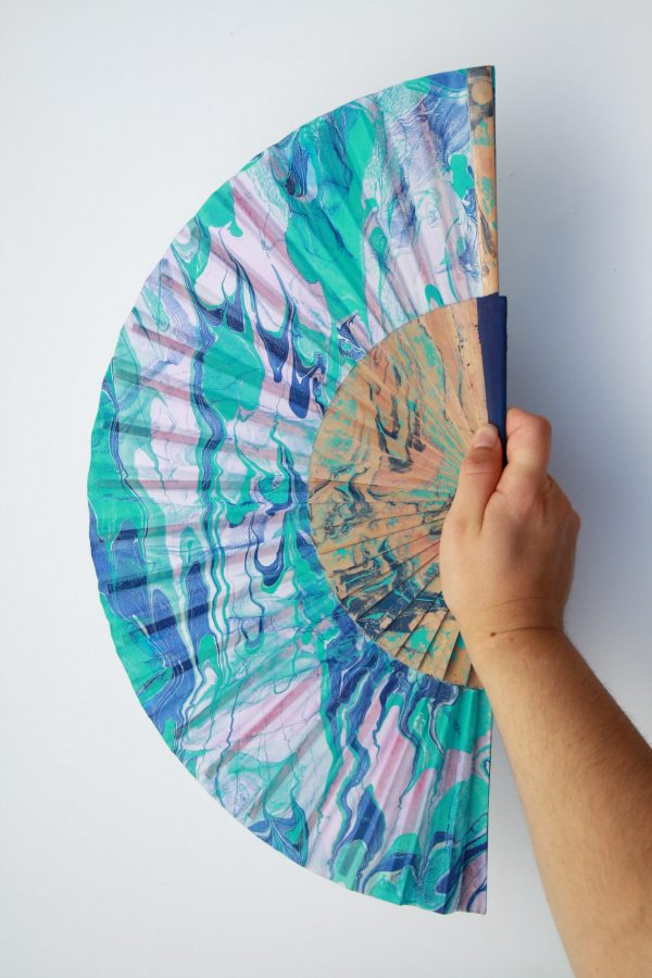 Prussian blue, teal, indigo blue and pink silk fan