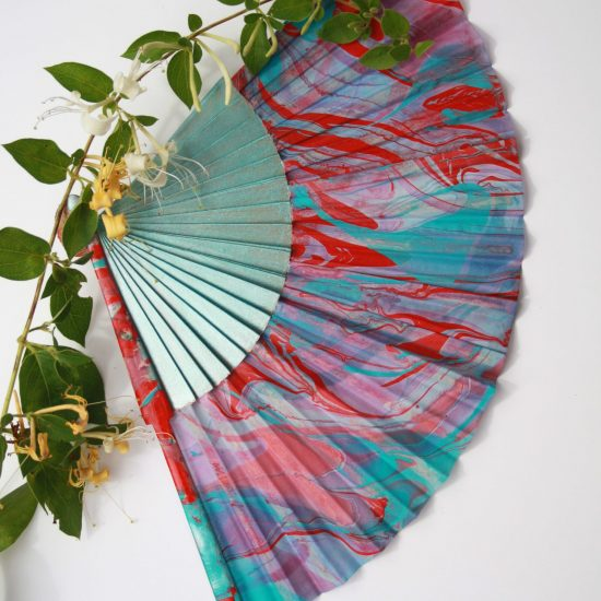 teal, red, pink, silk fan