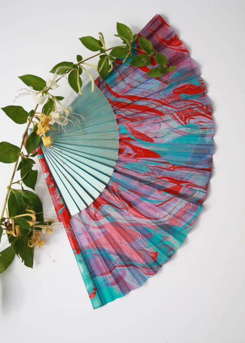 teal, red, pink, silk fan