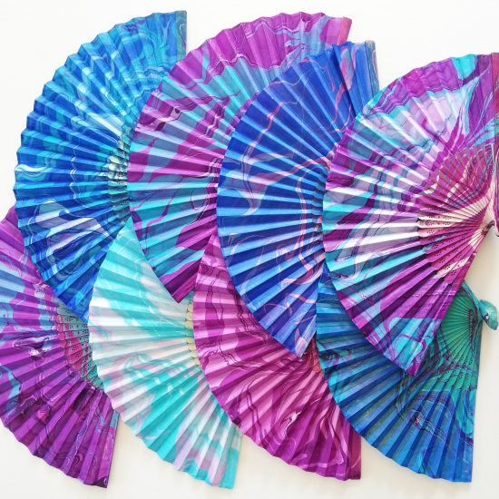 blue, white, teal, purple, pink, green, fuchsia, lilac hand marbled, satin fans for weddings and party favours