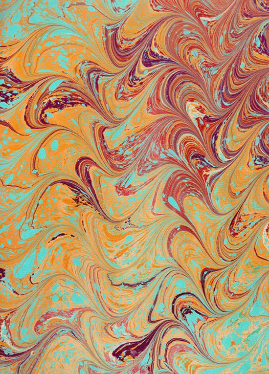 Alizarin, ochre, teal, burnt umber marbled paper