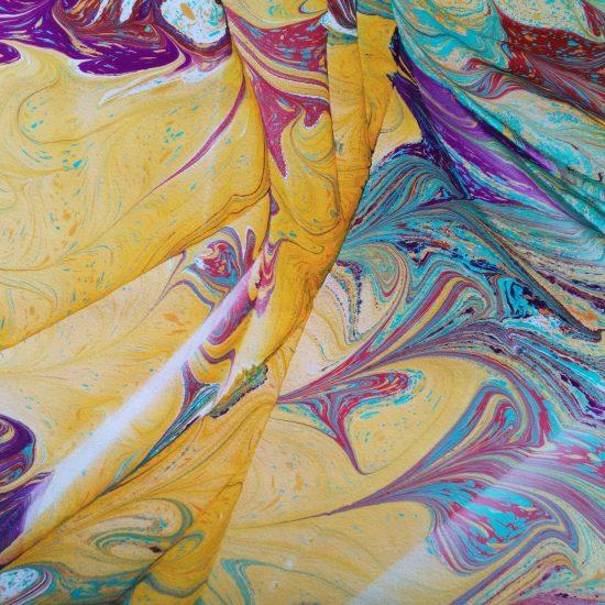 Alizarin, teal, umber, ocher, violet, hand marbled paper