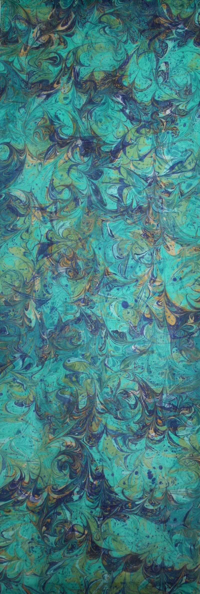 detail in greens, blues, burnt sienna hand marbled silk wall hanging
