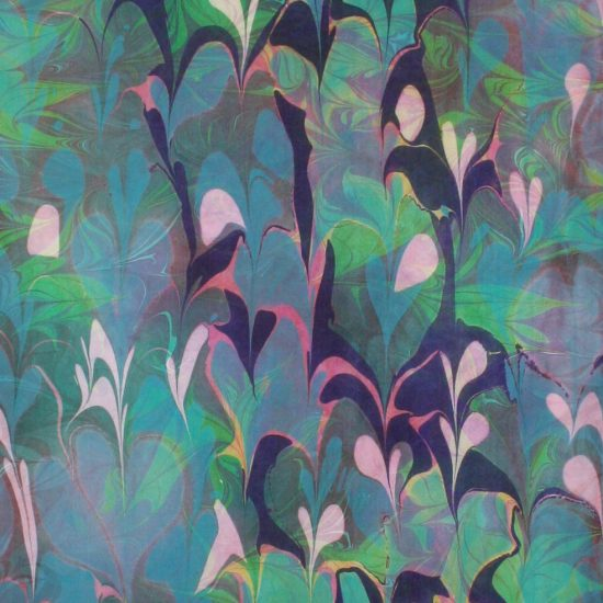 Detail of Indigo, Green, Blue, blue green Flamingo scence Silk wall hanging