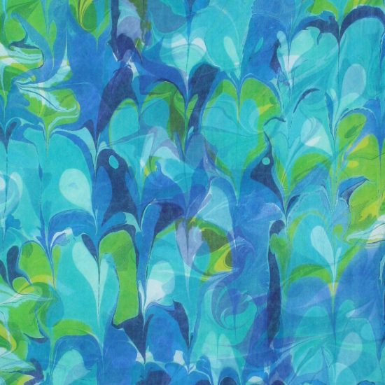 Detail of Indigo, Gold Green, Light Blue, blue green Botanical hand marbled Silk wall hanging