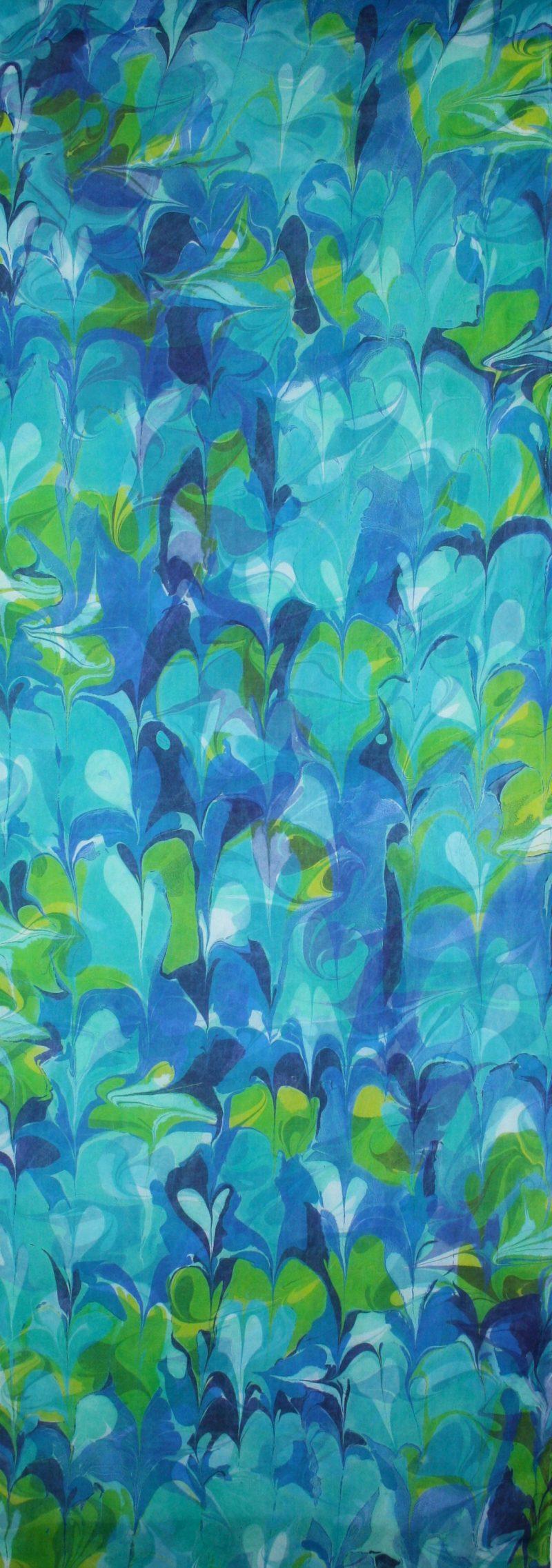 Detail of Indigo, Gold Green, Light Blue, blue green Botanical hand marbled Silk wall hanging