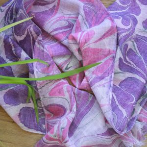 hand marbled merino wool scarf in mauves, purples and charcoal grey