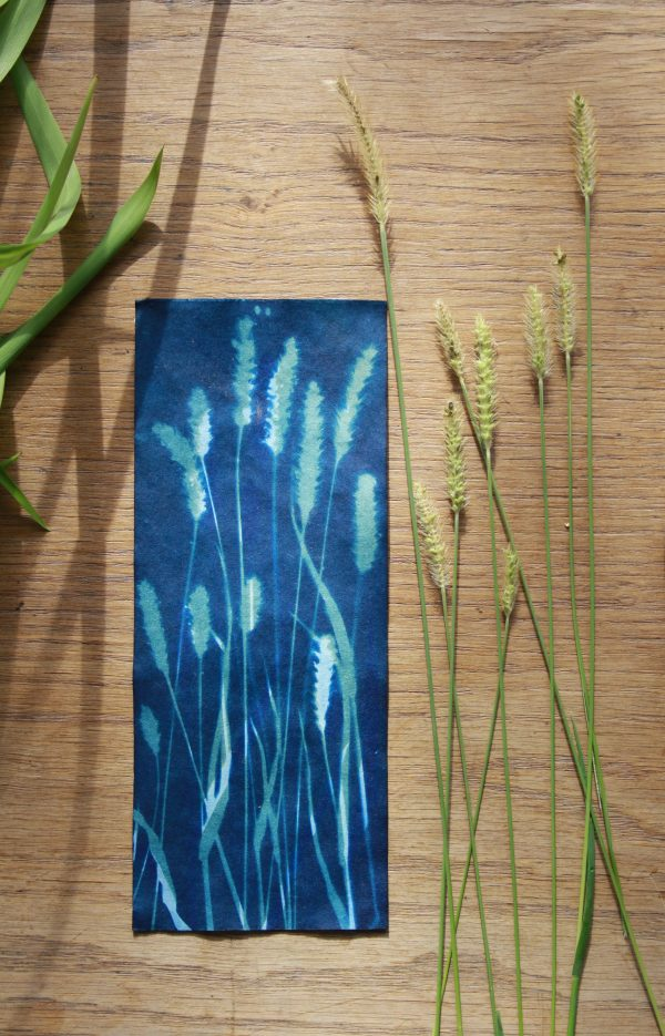 Prussian blue, green blue, and white tall, elegant botanical