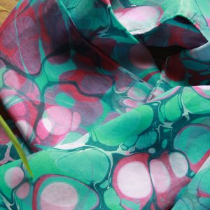 hand marbled silk scarf in teals, greens, purples, raspberry reds and white