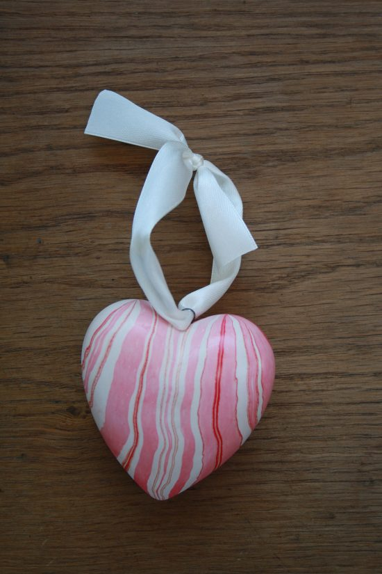 hand marbled heart ornaments in pinks, red, white