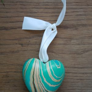 hand marbled heart ornaments in teal, brown, sepia