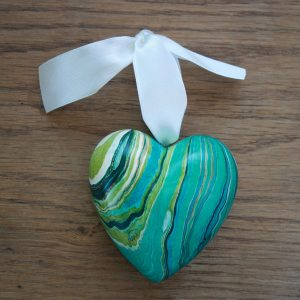 hand marbled heart ornaments in teal, blues, greens, white