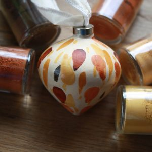 natural pigment hand painted ceramic ornament