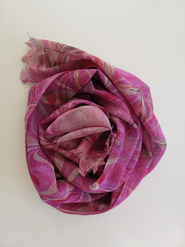 hand marbled merino wool scarf in mauves, magentas and charcoal grey