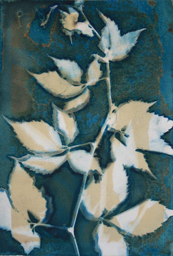 Nuances of blue, nuances of yellow gold, nuances of green blue, plant art