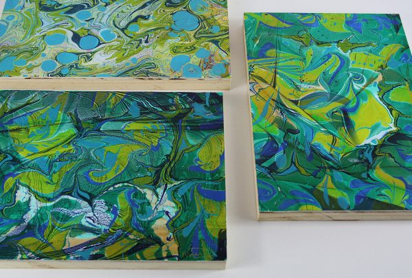 MOUNTED hand marbled papers